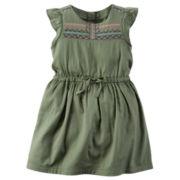 Carter's® Flutter-Sleeve Olive Green Woven Dress - Girls 4-8