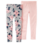Carter's® 2-pck. Gray Pink Floral-Print Leggings - Girls 4-8