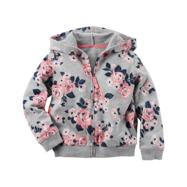 jcpenney.com | Carter's® Long-Sleeve Gray Floral Hoodie - Girls 4-8
