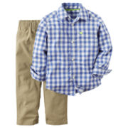 Carter's® 2-pc. Blue Gingham Shirt and Khaki Pants Set - Toddler Boys 2t-5t