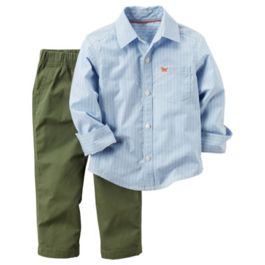 jcpenney.com | Carter's® 2-pc. Striped Shirt and Olive Pants Set - Toddler Boys 2t-5t