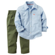 Carter's® 2-pc. Striped Shirt and Olive Pants Set - Toddler Boys 2t-5t