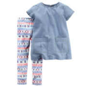 Carter's® 2-pc. Short-Sleeve Denim Shirt and Pants Playwear Set - Toddler Girls 2t-5t