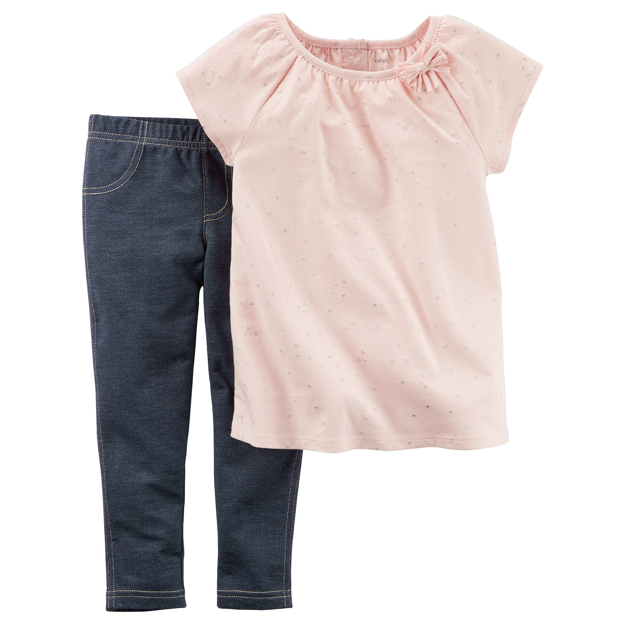 Carter's 2-pc. Sparkle Pink Gauze Top and Jeggings Set - Toddler Girls 2t-5t plus size,  plus size fashion plus size appare