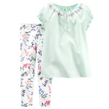 jcpenney.com | Carter's® 2-pc. Blue Crepe Ivory Floral Top and Pants Set - Toddler Girls 2t-5t