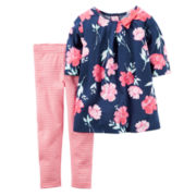 Carter's® 2-pc. Long-Sleeve Navy Floral Top and Pants Set - Toddler Girls 2t-5t