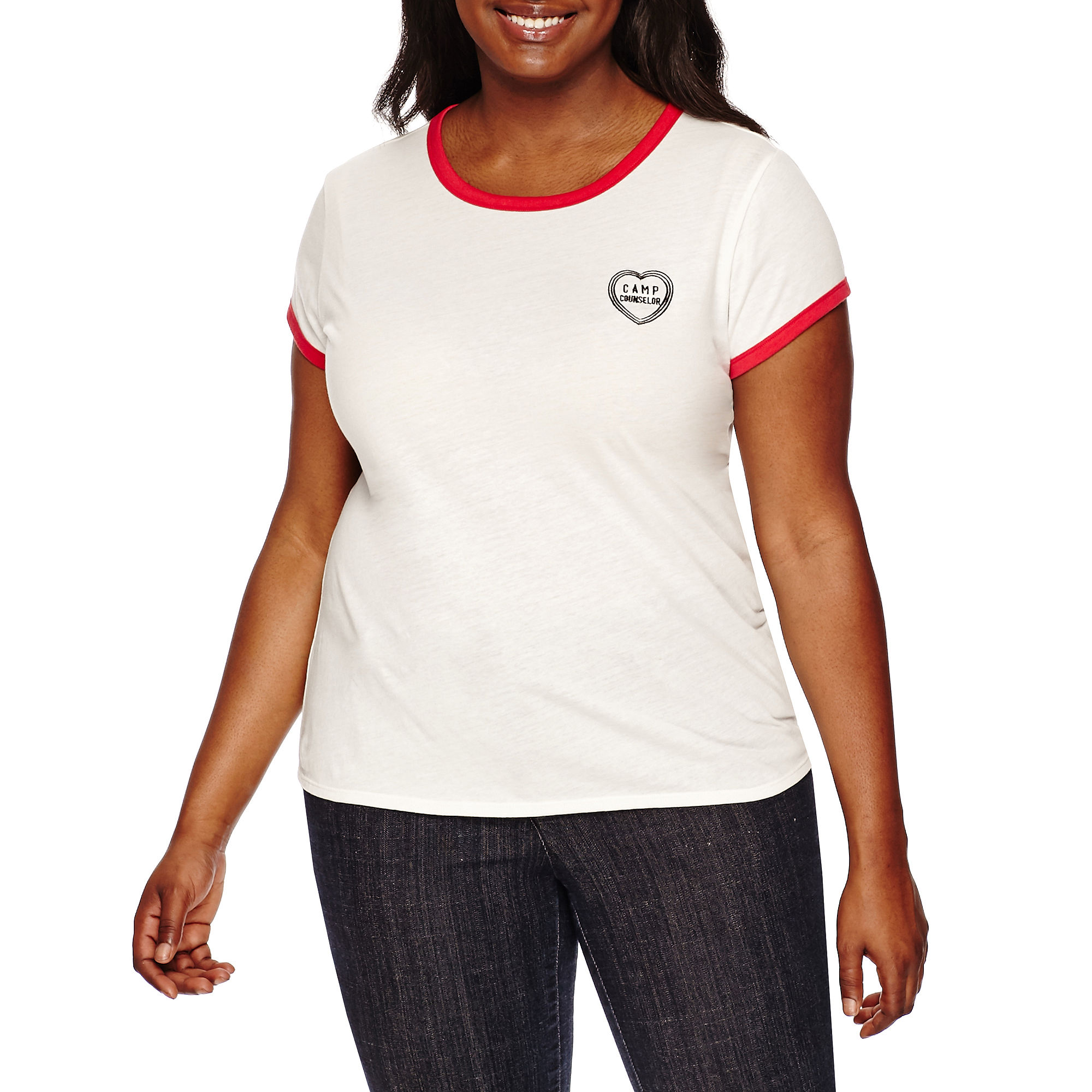 Arizona Short-Sleeve Ringer Tee - Juniors Plus plus size,  plus size fashion plus size appare