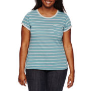 Arizona Short-Sleeve Striped Ringer Tee - Juniors Plus