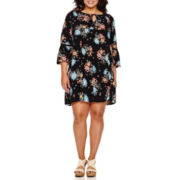 Arizona Bell-Sleeve Floral-Print Dress - Juniors Plus