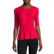 Liz Claiborne® Elbow-Sleeve Knit Peplum Top