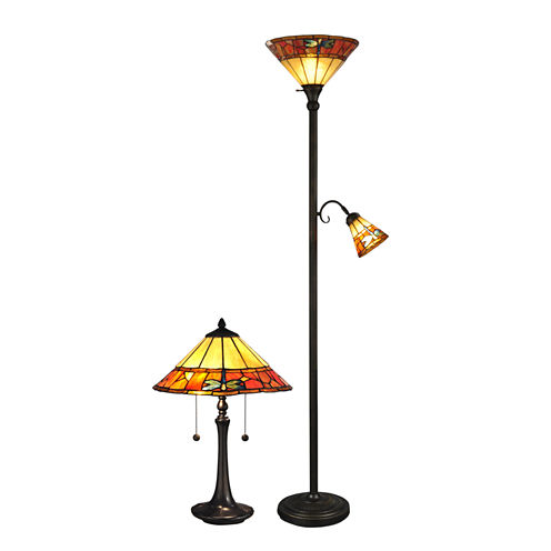 Dale Tiffany™ 2-pc. Genoa Tiffany Torchiere & Table Lamp Set