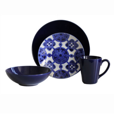 jcpenney.com | Baum Medallion 16-pc. Ceramic Dinnerware Set - Cobalt