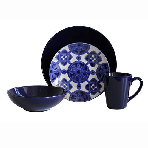 Baum Medallion 16-pc. Ceramic Dinnerware Set - Cobalt