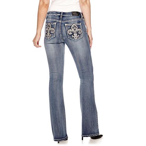Love Indigo Fleur Des Lis Embellished Back Pocket Bootcut Jean