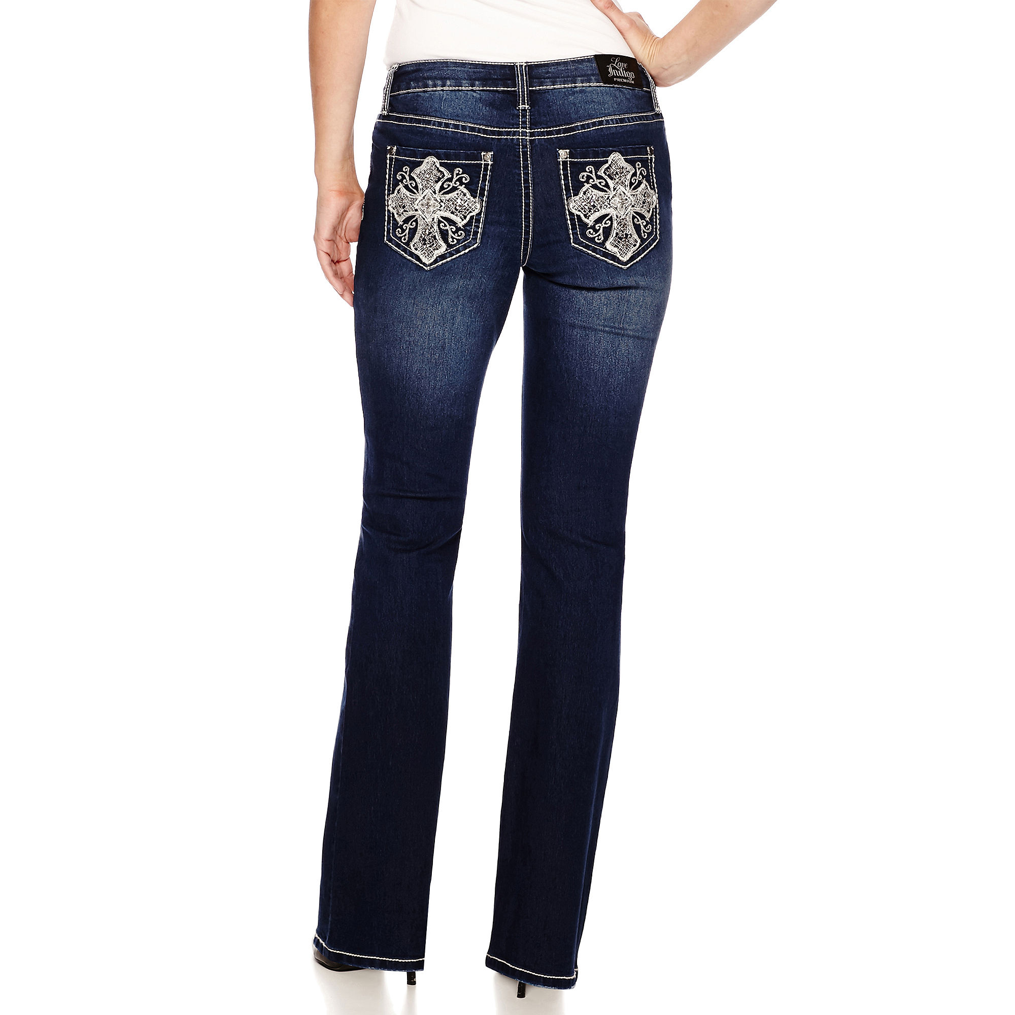 Love Indigo Embellished Back Pocket Jeans