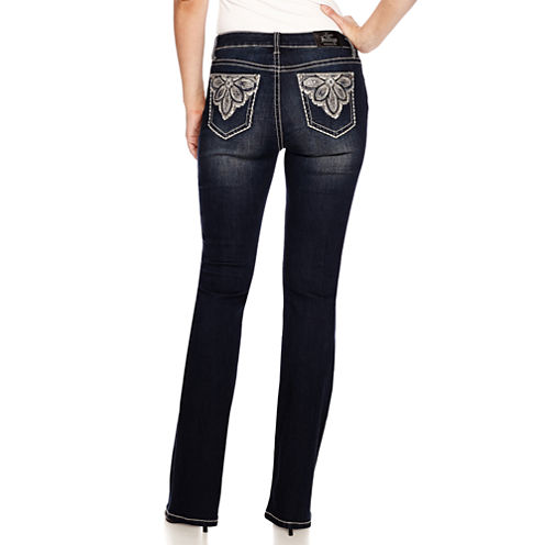 Love Indigo Flower Embellished Back Pocket Bootcut Jean