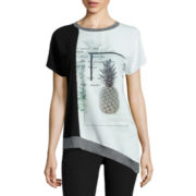 Worthington® Edition Short-Sleeve Asymmetrical Graphic Tee