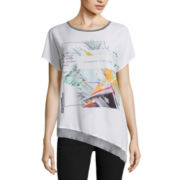 Worthington® Short-Sleeve Asymmetrical-Hem Graphic Tee - Tall