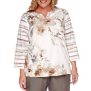 Alfred Dunner® Acadia 3/4-Sleeve Floral Knit Top - Plus