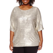 Worthington® Short-Sleeve Dolman Blouse - Plus