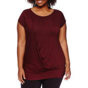 Worthington® Cap-Sleeve Drape-Front Tee - Plus