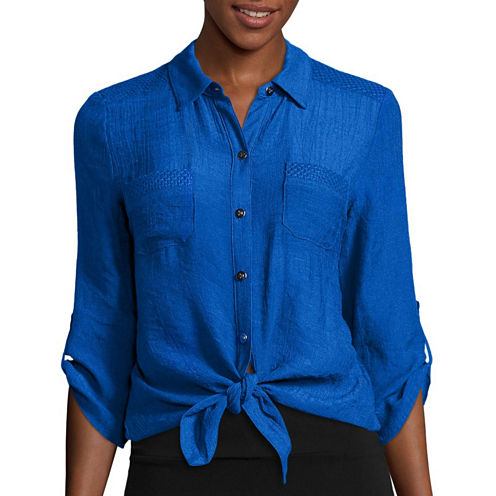Alyx® 3/4-Sleeve Tie-Front Gauze Woven Top