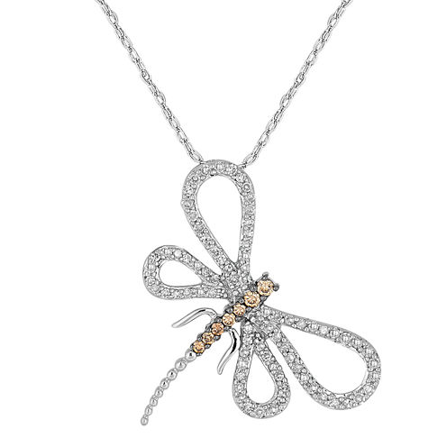 1/2 CT. T.W. White & Champagne Diamond 10K White Gold Dragonfly Pendant Necklace