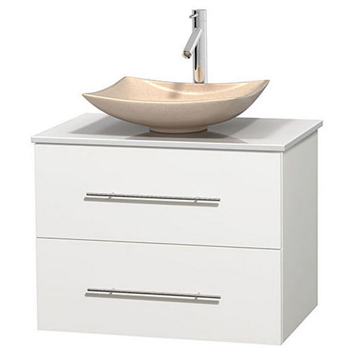 Centra 30 inch Single Bathroom Vanity; White Man-Made Stone Countertop; Arista Ivory Marble Sink; and No Mirror