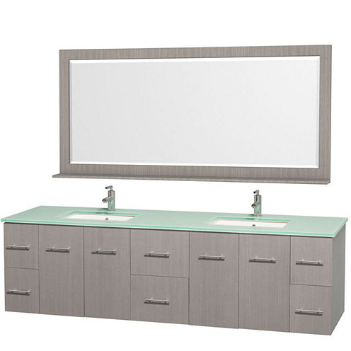 Centra 80 inch Double Bathroom Vanity; Green GlassCountertop; Square Porcelain Undermount Sinks; and 70 inch Mirror