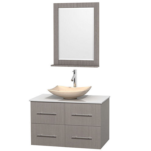 Centra 36 inch Single Bathroom Vanity; White Man-Made Stone Countertop; Arista Ivory Marble Sink; and 24 inch Mirror