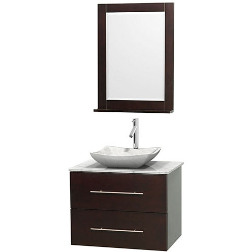 Centra 30 inch Single Bathroom Vanity; White Carrera Marble Countertop; Avalon White Carrera MarbleSink; and 24 inch Mirror