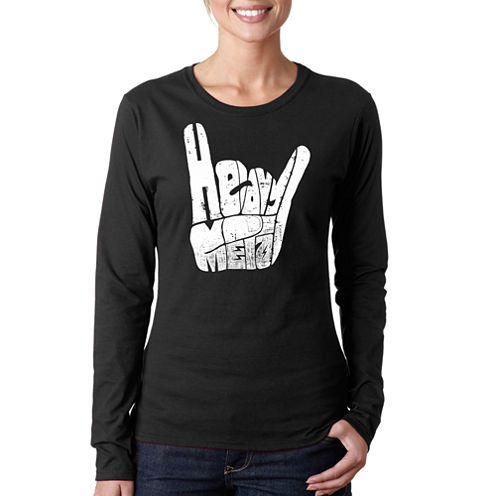 Los Angeles Pop Art Heavy Metal Long Sleeve Graphic T-Shirt