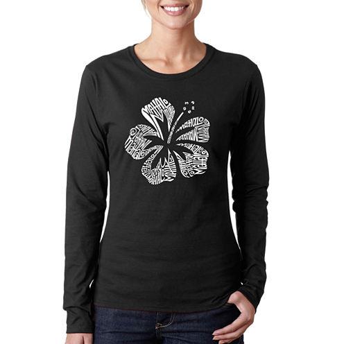 Los Angeles Pop Art Mahalo Long Sleeve Graphic T-Shirt