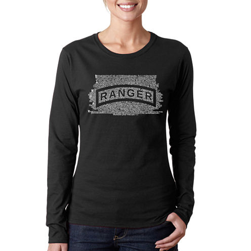 Los Angeles Pop Art The Us Ranger Creed Long Sleeve Graphic T-Shirt