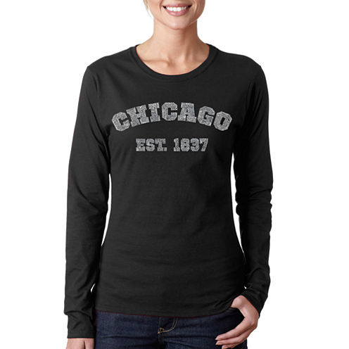 Los Angeles Pop Art Chicago 1837 Long Sleeve Graphic T-Shirt