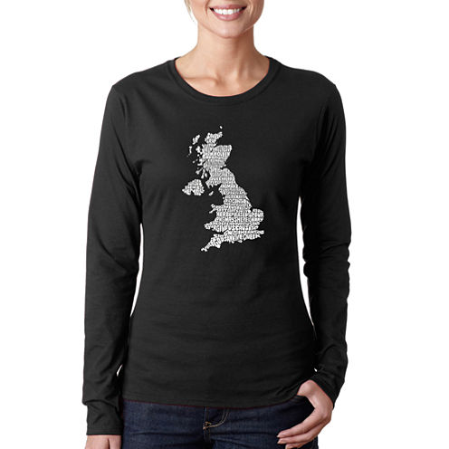 Los Angeles Pop Art God Save The Queen Long Sleeve Graphic T-Shirt