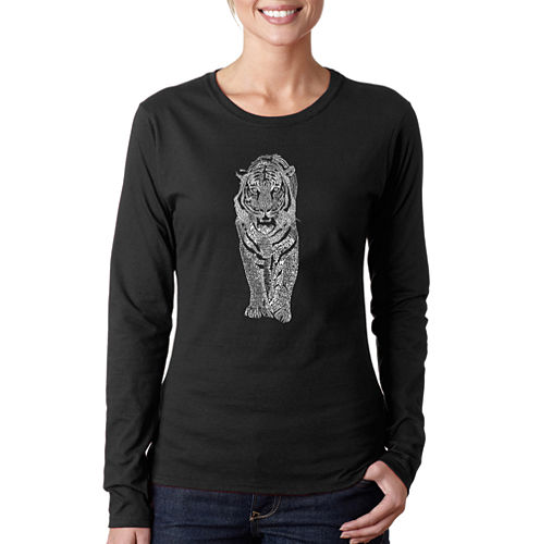 Los Angeles Pop Art Tiger Long Sleeve Graphic T-Shirt