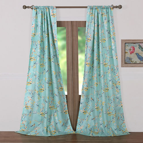 Barefoot Bungalow Cherry Blossom Rod-Pocket Curtain Panel