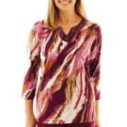 Alfred Dunner® Circle Oaks Brushstroke Print Knit Top
