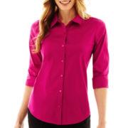 Worthington® Shirred 3/4-Sleeve Button-Front Shirt