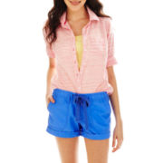 jcp™ Space-Dyed Button-Front Shirt - Petite
