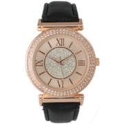 Olivia Pratt Womens Rose Gold Tone Crystal Accent Black Leather Strap Watch 14396