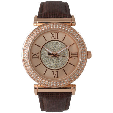 jcpenney.com | Olivia Pratt Womens Rose Gold Tone Crystal Accent Brown Leather Strap Watch 14396