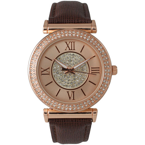 Olivia Pratt Womens Rose Gold Tone Crystal Accent Brown Leather Strap Watch 14396