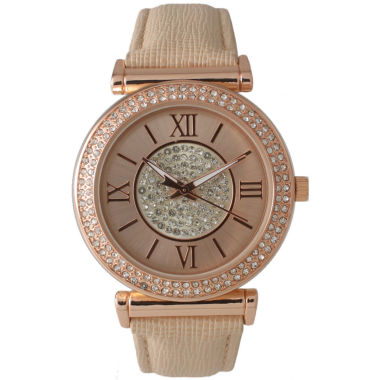 jcpenney.com | Olivia Pratt Womens Rose Gold Tone Crystal-Accent  Strap Watch 14396
