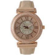 Olivia Pratt Womens Rose Gold Tone Crystal Accent Cream Leather Strap Watch 14396