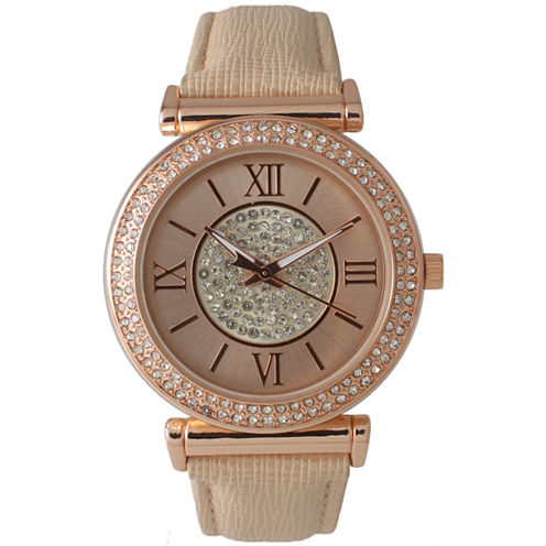 Olivia Pratt Womens Rose Gold Tone Crystal-Accent  Strap Watch 14396