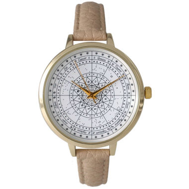 jcpenney.com | Olivia Pratt Womens Beige And Gold Tone Leather Strap Watch 14644