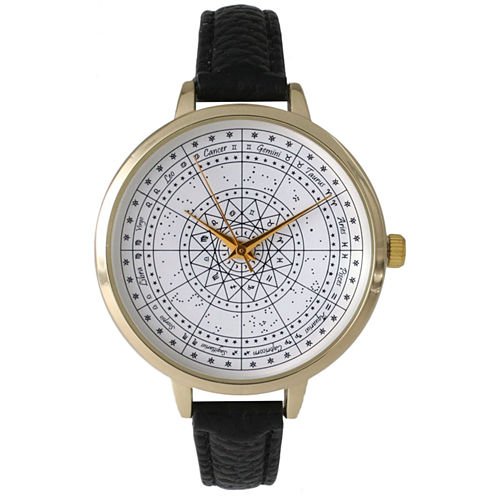 Olivia Pratt Womens Black And Gold Tone Leather Strap Watch 14644