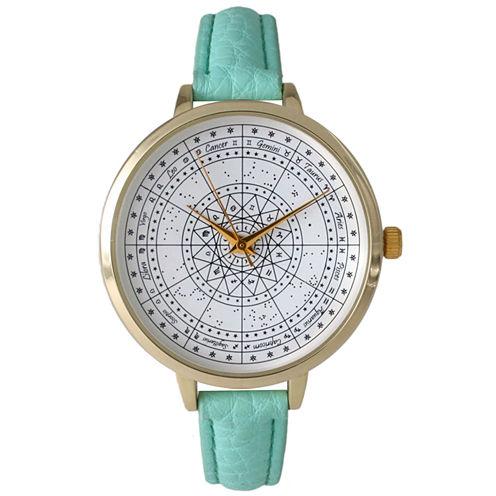 Olivia Pratt Womens Mint Green Leather Strap Watch 14644